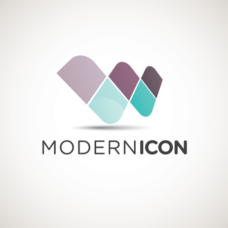 Modern letter W icon with text use example
