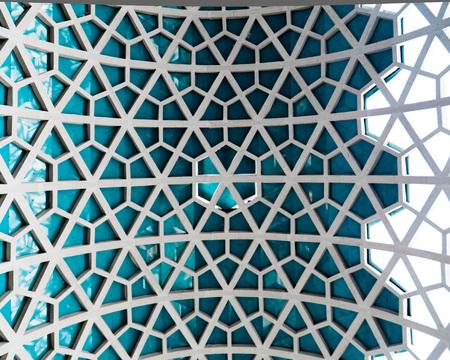 Architectural detail texture background with oriental hexagonal grid pattern
