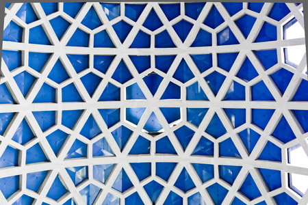 grid pattern: Architectural detail texture background with oriental hexagonal grid pattern