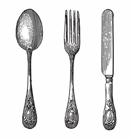 sked: Antik stil gravyr av bestick, sked, kniv och gaffel