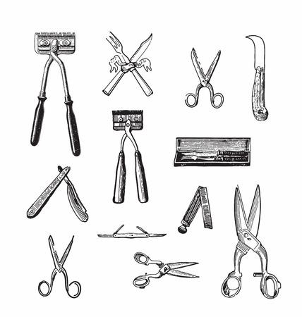 ephemera: Antique style engraving of various types of vintage cutting tools