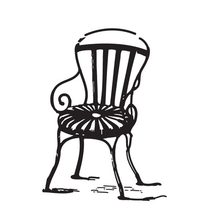antique chair: Antique style engraving of vintage metal chair