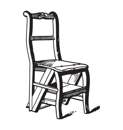ephemera: Antique style engraving of vintage wooden chair