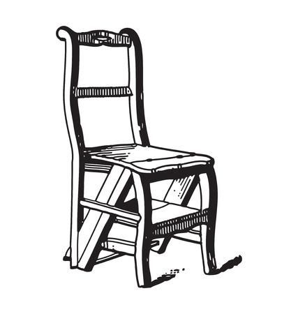 ephemera: Incisione stile antico della sedia di legno d'epoca