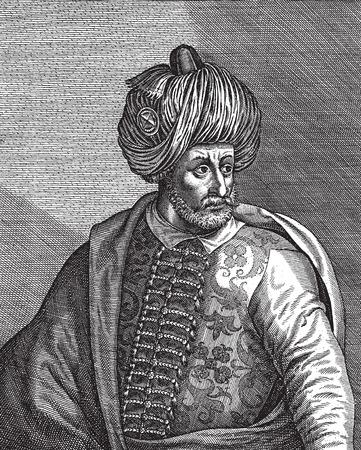 ottoman empire: Engraved portrait of the Ottoman Empire sultan Bayezid the First or Yildirim -Thunder- Bayezid