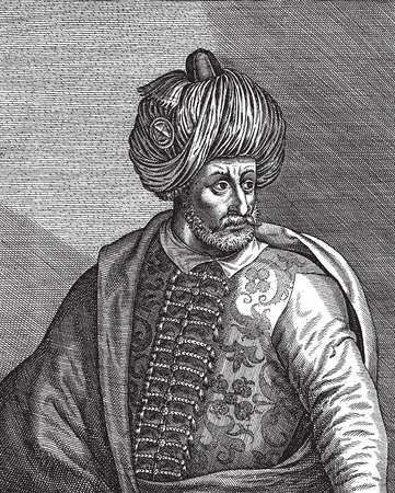 Engraved portrait of the Ottoman Empire sultan Bayezid the First or Yildirim -Thunder- Bayezid