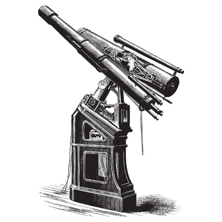 lithography: Ancient style engraving of a large equatorial telescope Illustration