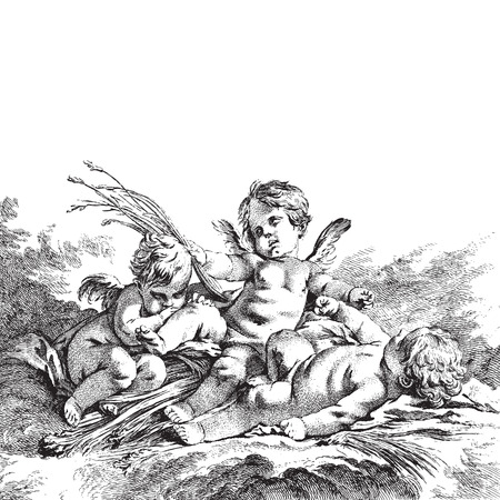 Ancient style engraving of three child angel figures Illustration