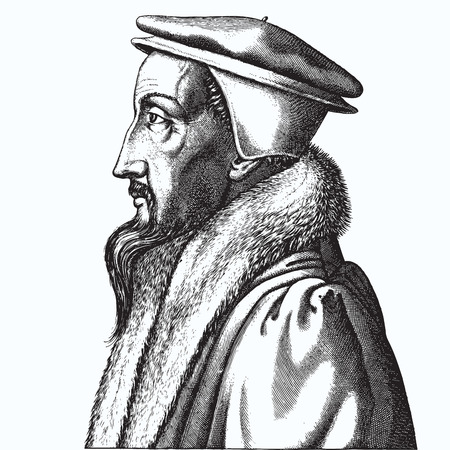 Ancient style engraving portrait of John Calvin Vettoriali