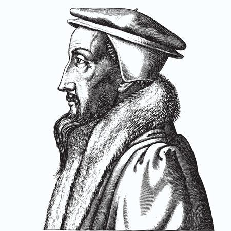 Ancient style engraving portrait of John Calvin Illustration