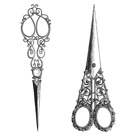 cutting metal: Ancient style engraving of two vintage ornate scissors