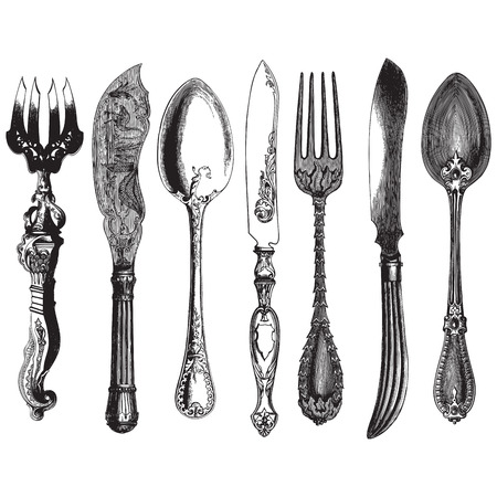 cubiertos de plata: Antiguo estilo de grabado de un conjunto de cuchillería vintage, tenedores, cuchillos y cucharas