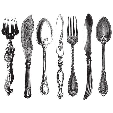 Starożytnej stylu grawerowanie zestaw starych sztućce, widelce, noże i łyżki