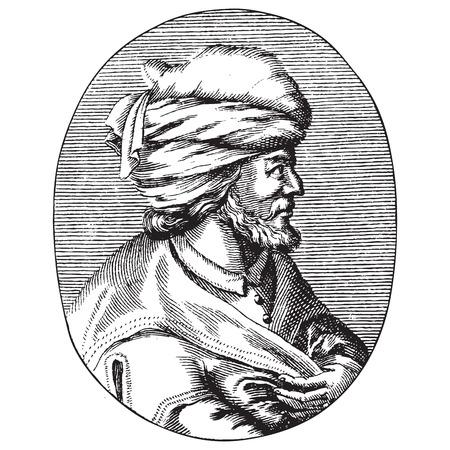 Gegraveerd portret van Osman Gazi of Osman de Eerste, de stichter van het Ottomaanse Rijk Vector Illustratie