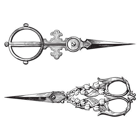 Ancient style engraving of two vintage ornate scissors