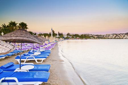 turkey beach: Bitez beach in Bodrum by the Aegean coast of Turkey Stock Photo