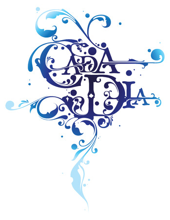 everyday: Cada Dia means Everyday in Spanish, modern typographic design with floral ornaments Illustration
