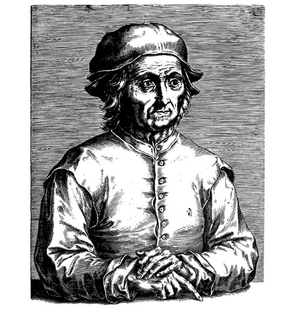 dutch culture: Etching portrait, vector drawing of famous painter Hieronymus Bosch Illustration