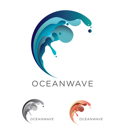 wave crest: Abstract vector ocean wave emblem design in blue and teal tones including monochrome and coral-orange options