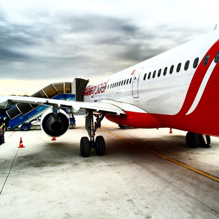 airways: Atlasglobal Airways aircraft boarding passengers from Istanbul Ataturk Airport to Bodrum Milas Airport, Domestic flight in Turkey