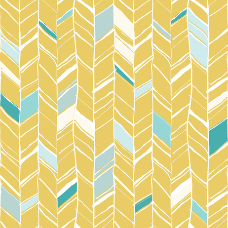 yellow line: Hand drawn creative herringbone pattern, perfectly seamless composition for print or web projects