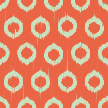 Vector seamless patter design with ikat style repeating ornaments
