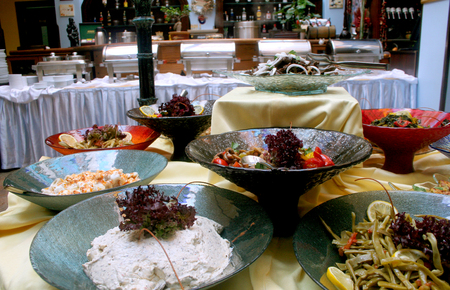 culinary tourism: Food buffet with various types of food