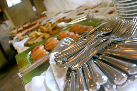 ceiling plate: Food buffet with various types of food
