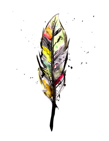 Watercolor feather photo