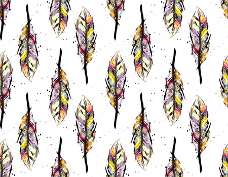 Watercolor feathers seamless pattern photo