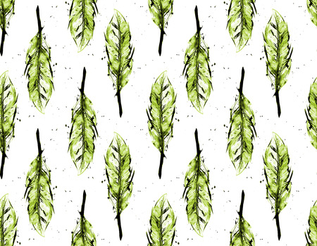 Watercolor feathers seamless pattern photo