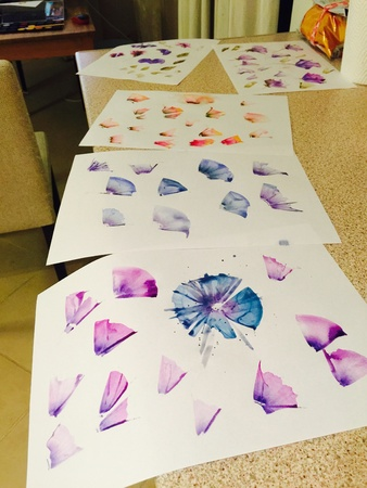 illustration: Watercolor artwork on papers drying in order to become digital pattern desings, designer working process Stock Photo