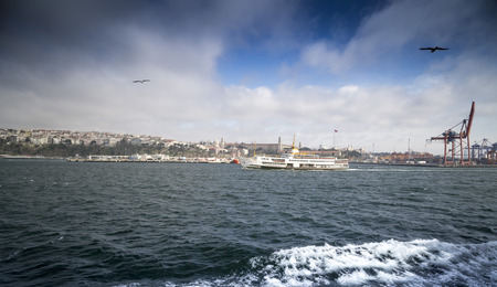kadikoy: Istanbul, Turkey - May 14, 2017: View from Kadikoy commercial dock located at the Kadikoy coast, Asian side of Istanbul, Turkey. Editorial