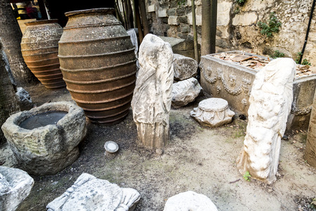 Old terracotta amphora s and sculptures in Bodrum Castle, Turkey Editorial