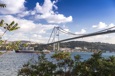 bosphorus: View of the Bosphorus and FSM Bridge in a cloudy spring day. The bridge connects Asian and European sides of Istanbul
