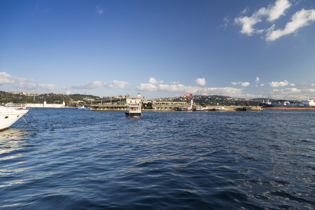 islet: Istanbul Turkey  May 15 2015: Galatasaray islet in the Bosphorus built in 1957. The islet is owned by Galatasaray sport club which in 2002 starts to turn it into one of landmarks of the city.