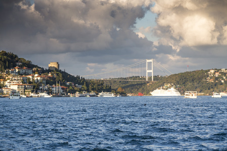 hisari: View of Rumeli Hisari Roumeli Hissar Castle and the FSM Fatih Sultan Mehmed Bridge in the Bosphorus Istanbul