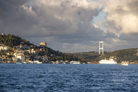 View of Rumeli Hisari Roumeli Hissar Castle and the FSM Fatih Sultan Mehmed Bridge in the Bosphorus Istanbul