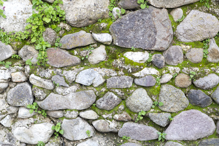 weed block: Stone wall with moss and grass