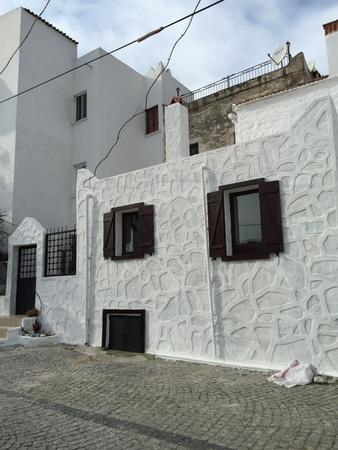 architecture: Traditional Aegean-Mediterranean architecture in Bodrum, Turkey Stock Photo