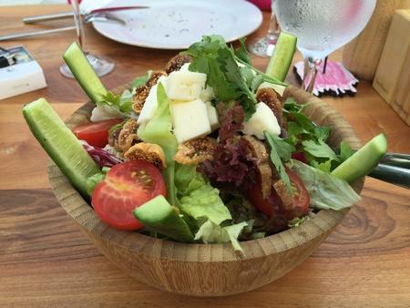 ensalada de frutas: Ensalada verde con queso feta