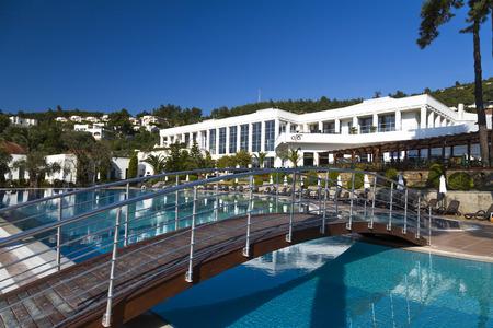 turkey beach: Bodrum, Turkey - May 10, 2015: View from Rixos Bodrum Preimum Hotel located in Torba, Bodrum by the Aegean Sea, Turkey. Rixos is a Turkish hotelier brand with luxurious hotels worldwide.