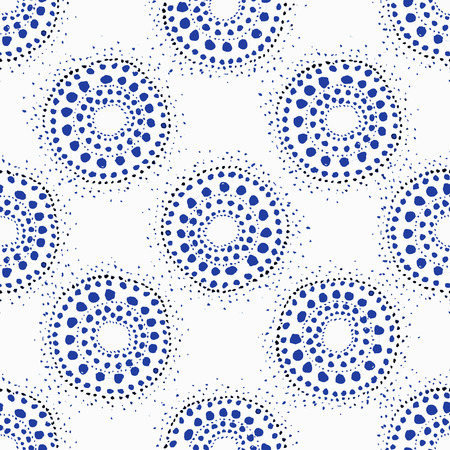 indigo: Raster based seamless pattern with watercolor circle dots. Perfect for surface print and backgrounds Stock Photo