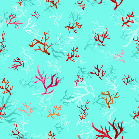 polyps: Raster based seamless pattern with watercolor corals perfect for surface prints wrapping papers wallpapers textile prints and web backgrounds Stock Photo
