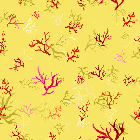 invertabrate: Raster based seamless pattern with watercolor corals perfect for surface prints wrapping papers wallpapers textile prints and web backgrounds Stock Photo