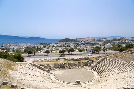 mugla: Ancient amphitheater in Bodrum Turkey