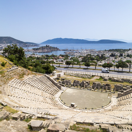 mugla: View of Bodrum Castle or the Castle of St. Petrus in Bodrum town of Mugla Aegean coast of Turkey