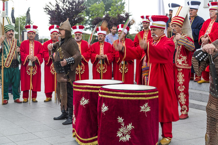 Yalova, Turkey - June 3 2015: Traditional Ottoman army band playing marches before the pre-election meeting of Ahmet Davutoglu AKP in Yalova on June 3.