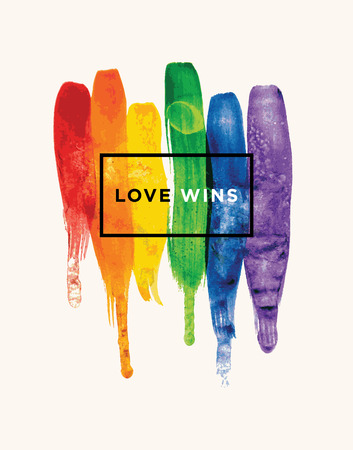 Love Wins Conceptual vector watercolor poster design with rainbow colors Иллюстрация