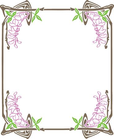 vintage border: Beautiful decorative floral frame, art nouveau design element